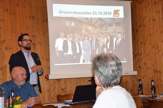 Marcel Kreber spricht zur CVP-Grossratsliste im Bezirk Bremgarten.