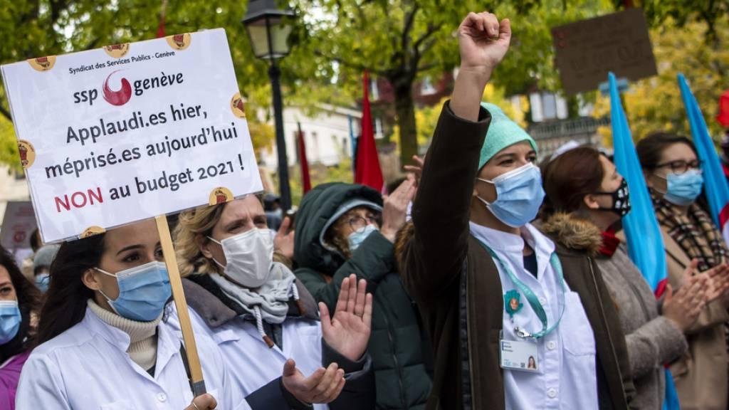 Genfer Staatspersonal demonstriert gegen Lohnabbau