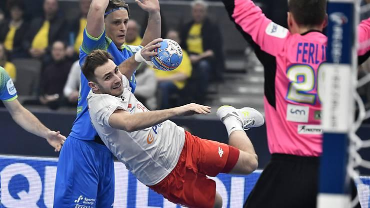 Der slowenische Goalie Klemen Ferlin zeigte eine starke Leistung