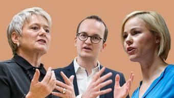 Drei der 14 Regierungsratskandidaten: Jacqueline Fehr (SP), Martin Neukom (Grüne) und Natalie Rickli (SVP).