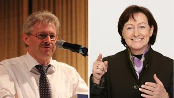 Kurt Schmid, Präsident des kantonalen Gewerbeverbandes und Silvia Flückiger, SVP-Nationalrätin, machen sich für eine Expo im Aargau stark.