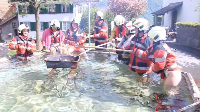 Feuerwehr macht Grill-Challenge im Dorfbrunnen