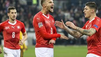 Haris Seferovic (Bildmitte) war im November gegen Belgien in der Nations League beim 5:2-Sieg der Schweiz mit einem Hattrick der vielumjubelte Matchwinner