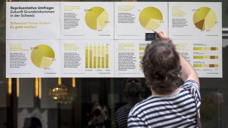 """Ein Plakat am Abstimmungsfest der Initianten der Grundeinkommensinitiative im """"Unternehmen Mitte"""" in Basel."""