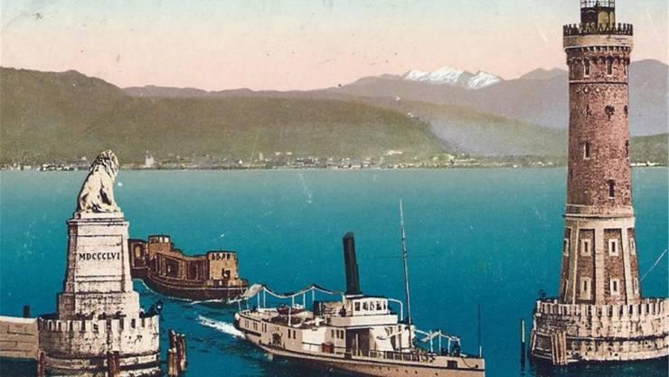 Endlich hatte Elise Flury den Hafen von Lindau erreicht. Er präsentierte sich wie in dieser historischen Aufnahme von 1910. ill. Bodenseeschifffahrt.de