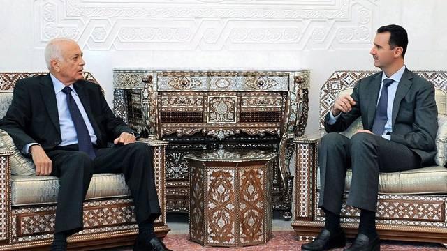 Assad im Gespräch mit el Arabi, Generalsekretär der Arabischen Liga