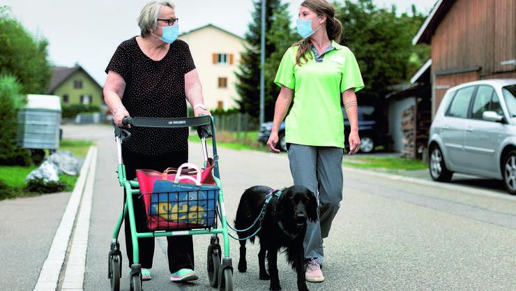 Petra Sommer, Pflegefachfrau Spitex Heitersberg, nimmt «Cara» bei ihren Einsätzen mit.