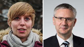 Die zwei Widersacher: Bürgerin Johanna Gündel und Gemeindeammann Andreas Glarner