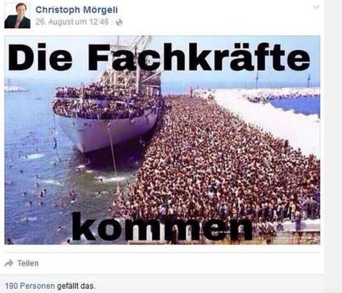 Post von Christoph Mörgeli auf Facebook