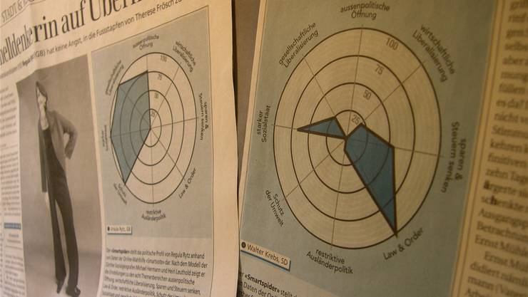 Nicht nur rechts-links: Die «Smartspider» visualisiert politische Positionen.