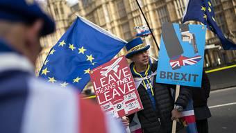 Während die britische Premierministerin Theresa May am Dienstag im Londoner Unterhaus eine Rede zum Brexit-Abkommen hielt, demonstrierten EU-Befürworter vor dem Parlament für einen Verblieb Grossbritanniens in der EU.