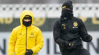 Ein erster Schritt zurück zur Normalität? Der BVB trainiert ab Montag in Zweiergruppen (im Bild Jadon Sancho and Erling Haaland/von rechts)
