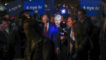 Genügend Stimmen beisammen: Die konservative norwegische Ministerpräsidentin Erna Solberg kann für vier Jahre weiterregieren.