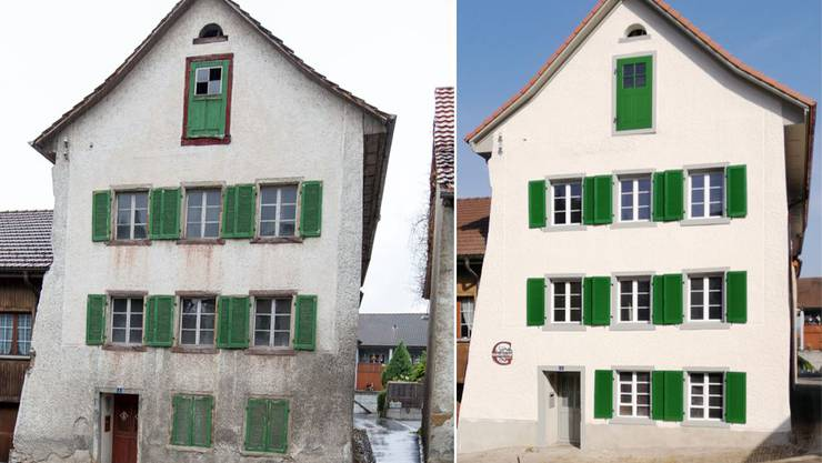 Das Haus am Goldgässli vor und nach der Sanierung.