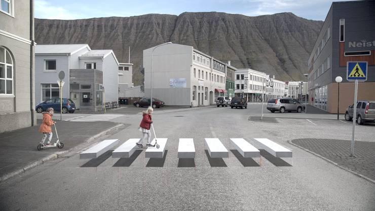 Die Fussgängerstreifen-Illusion aus dem isländischen Dörfchen namens Ísafjörður.