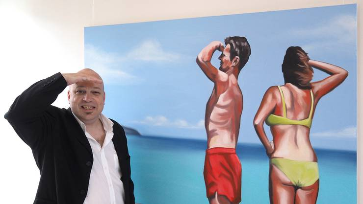 «Altogether» – Oel auf Leinwand; Thomas Droll vor einem seiner Werke