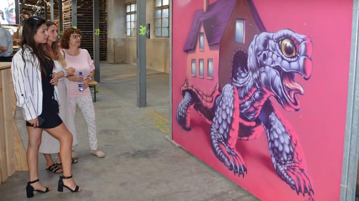 Impression von der Lancierung der Street-Art-Kampagne und Buchpräsentation in Laufenburg: Kunstwerk - Unterwegs und doch daheim- von Malik (Aarau).