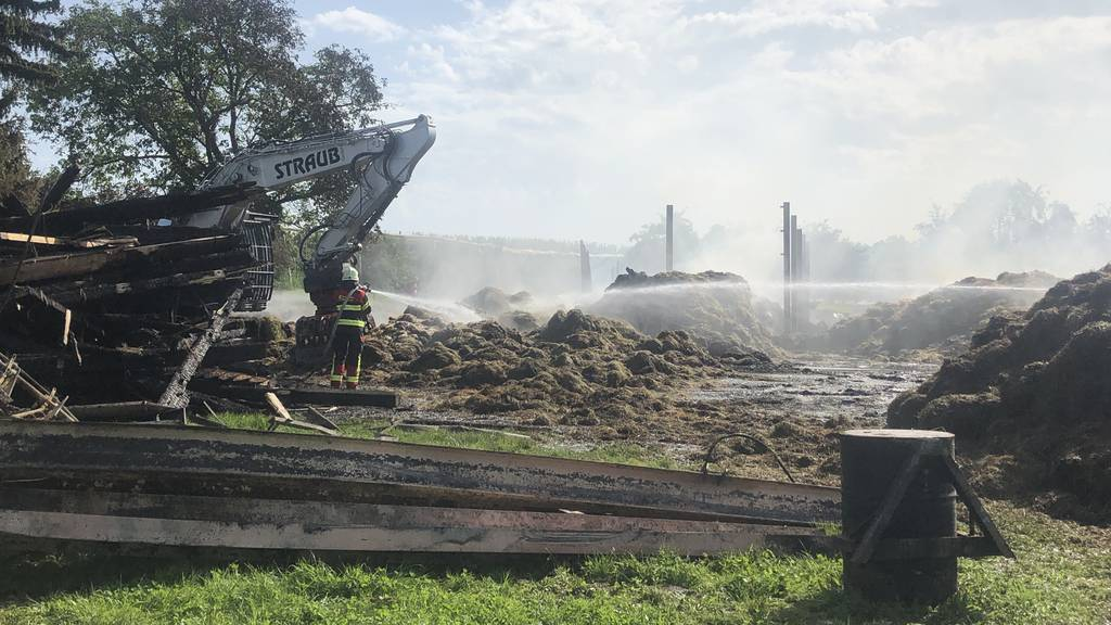 Stall komplett niedergebrannt – Löscharbeiten dauerten bis Freitag