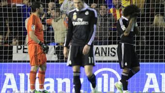 Enttäuschte Madrilenen nach dem 1.2: Casillas, Bale und Marcelo