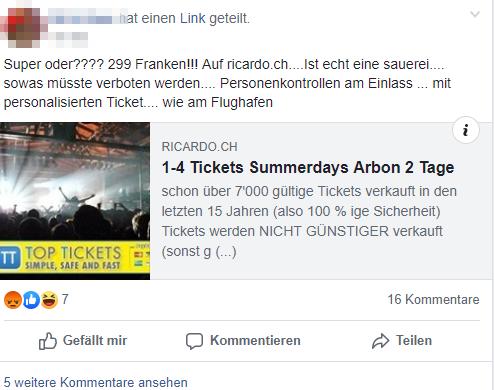Mittlerweile will Top-Tickets 349 Franken für die Tickets. (Screenshot: Facebook/Du bisch vo Arbon, wenn...)