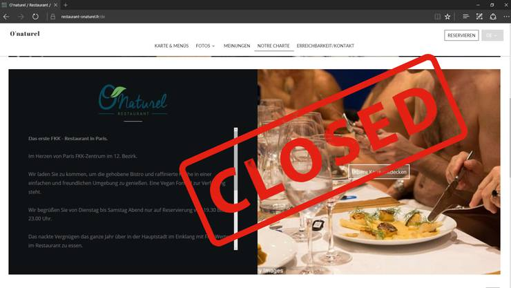 Das Pariser Nackt-Restaurant «O'Naturel» schliesst schon nach gut einem Jahr wieder seine Pforten.