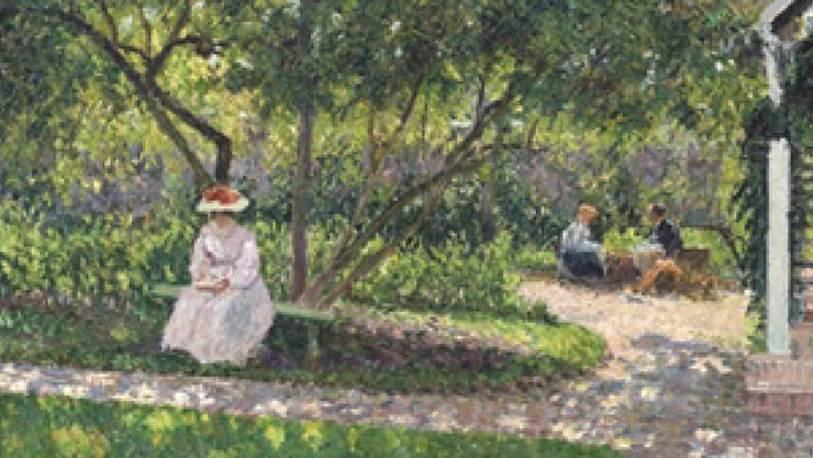 """Das Gemälde """"Coin de jardin à Eragny (la maison de l'artiste)"""" von 1897 ist Teil der Ausstellung """"Trésors impressionistes"""" in der Fondation Gianadda in Martigny. Die Ausstellung dauert vom 8. Februar bis 16. Juni 2019."""
