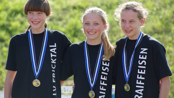 Miriam Häusler, Nora Allenspach und Svenja Gfeller von der Leichtathletikvereinigung Fricktal