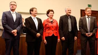Der Solothurner Regierungsrat: Remo Ankli, Roland Heim, Esther Gassler, Peter Gomm, Roland Fürst (v.l.)