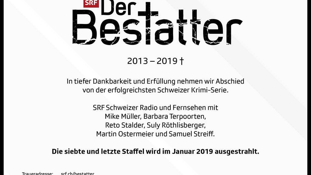 SRF: «Der Bestatter» wird eingestellt