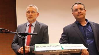 Gaben in Riniken Antworten: von links Markus Fritschi und Jürg Neidhardt. Louis Probst