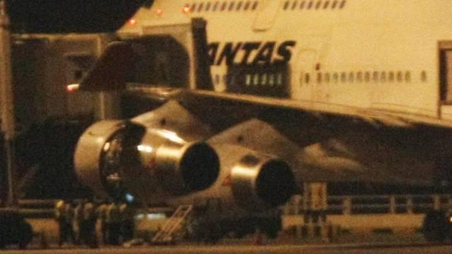 In Singapur notgelandete Boeing 747 der Airline Qantas