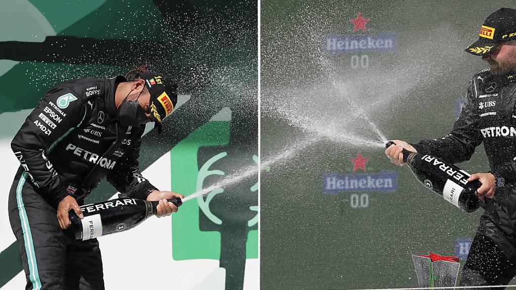 Valtteri Bottas (links): Champagner für Sieger Lewis Hamilton und den eigenen dritten Rang