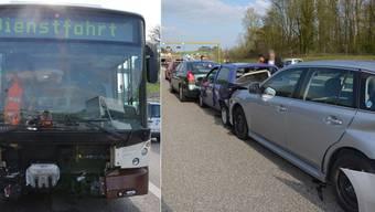 Unfall auf A5 bei Biberist. Der Bus übersah die stehende Kolonne.