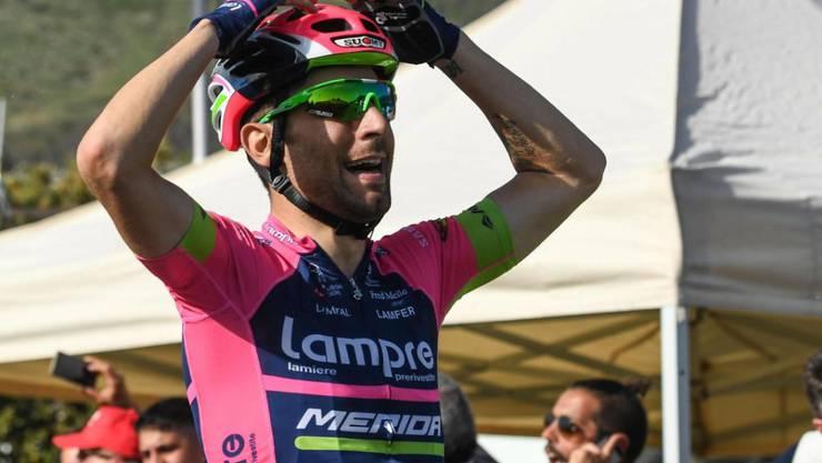 Der Italiener Diego Ulissi jubelte nach der 11. Etappe des Giro d'Italia über den Etappensieg - wie bereits nach dem vierten Teilstück