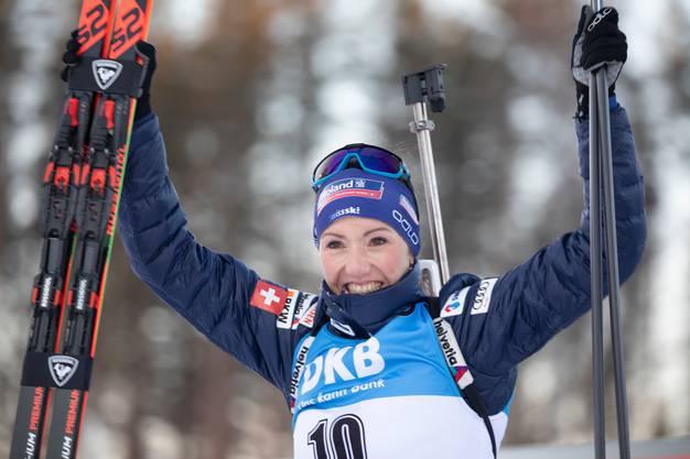 Eine letzte Heldengeschichte: Selina Gasparin jubelt über den Podestplatz in Finnland.