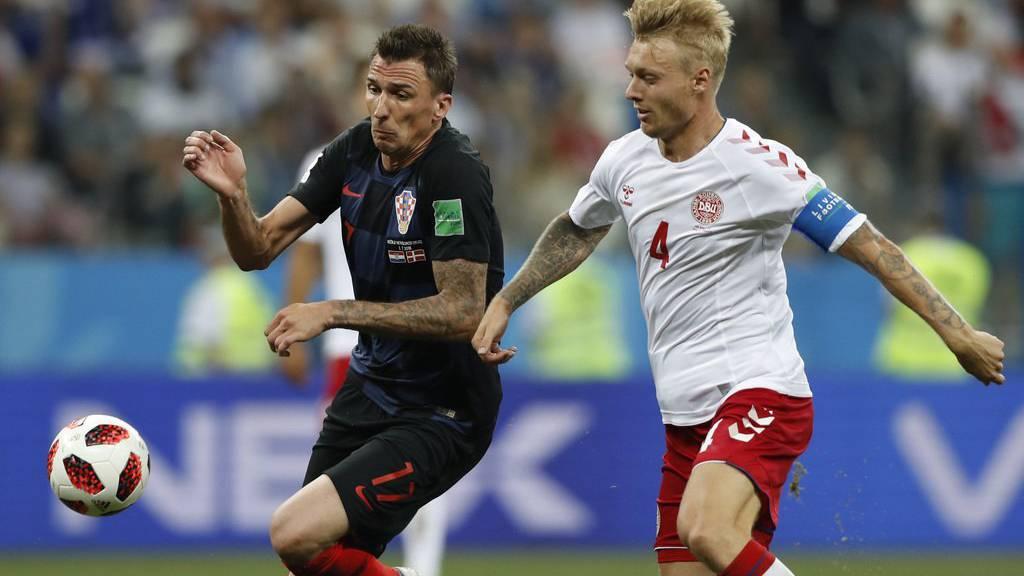 Kroatien gegen Dänemark im Achtelfinalspiel in Russland.