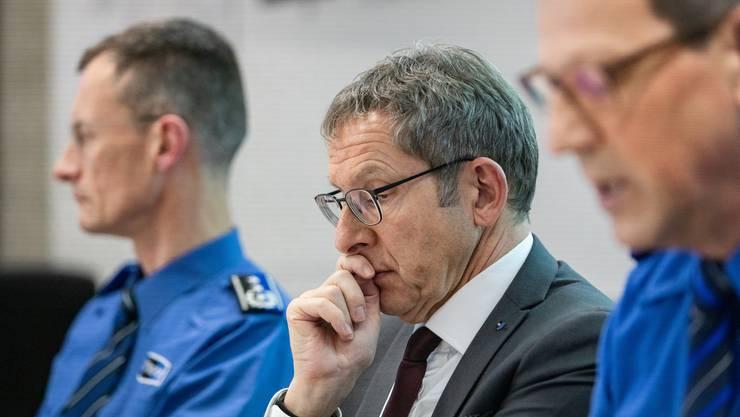 Justizdirektor Urs Hofmann an der Pressekonferenz der Aargauer Kantonspolizei.