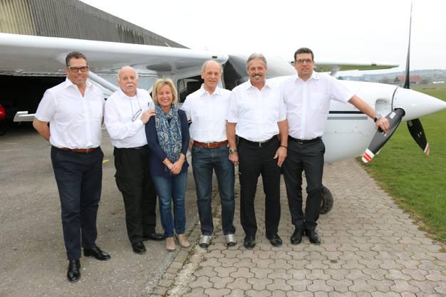 Der aktuelle Verwaltungsrat der Flubag: Marc Siegenthaler, Rudolf Sandmeier, Patricia Wandeler (Chefin Flugplatzbüro), Jürg Wildi, Hansruedi Müller (VR-Präsident) und Michael Spanier.