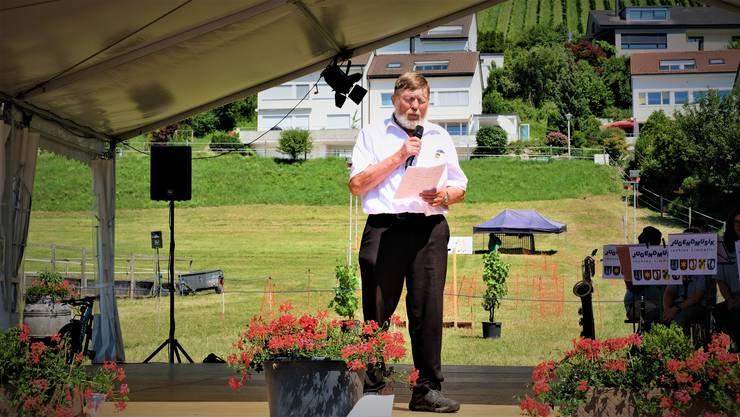 Hans-Peter Haug hielt beim traditionellen Gästeempfang seine letzte Rebblüetefäscht-Rede als Gemeindepräsident.