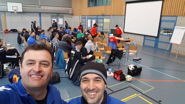Bilder: von links nach rechts  Bekim Bajraktari  und Filip Goncalvez Leite. Bild vom Theoriesaal