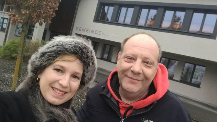 Isabell Landolfo und Roger Baumberger in Holziken, Hochburg der SVP