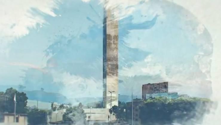 Das Beirut Museum of Art (BeMA) - hier ein gemalter Entwurf mit dem Turm, in dem Wohnungen für Künstler untergebracht sind - soll helfen, Beirut wieder prominent auf der Weltkarte der Kultur zu positionieren. (Screenshot aus Promo-Video des BeMA)