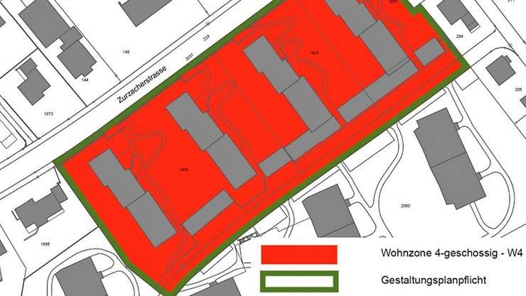 Klarer Entscheid: Das Areal «Am Rain» kann von der dreigeschossigen Wohnzone W3 in die Zone W4 mit Gestaltungsplanpflicht umgezont werden.