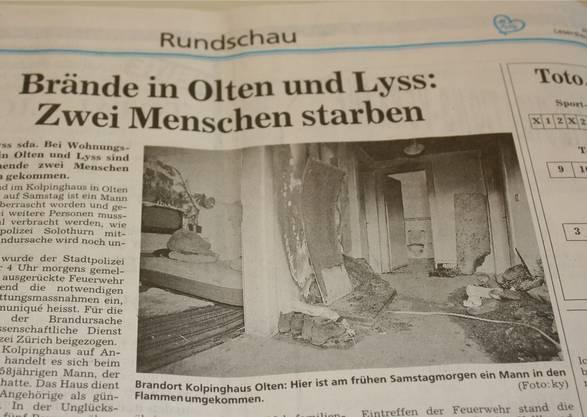 «Solothurner Zeitung» vom Dezember 1994: Hatten beim Brand in Olten die gleichen Täter die Hände im Spiel wie im Mordfall von Dulliken vom August 1993? Die Ermittlungen laufen wieder auf Hochtouren.