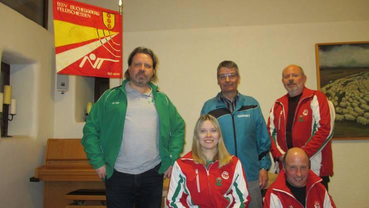 v.l. Thomas Kocher, Anja Jäggi, Hansulrich Meister, Heinz Hartmann und kniend Jürg Arni (Präsident)