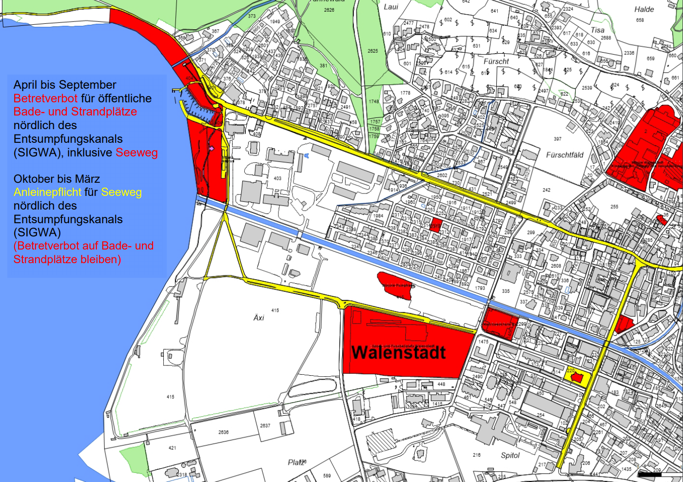 In den roten Zonen gilt das Hundeverbot. (Karte: walenstadt.ch)