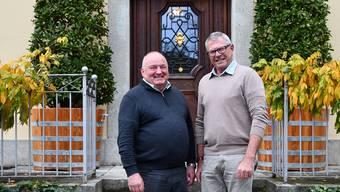 Schinznach-Bads Vizeammann René Fiechter (rechts) hat mit Bruggs Stadtammann Daniel Moser viele Gespräche geführt über die Fusion. jam
