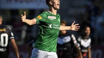 St. Gallens Cedric Itten jubelt über den 3:1- Sieg in Lugano