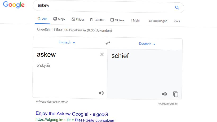 Schiefschauen bei Askew-Google-Suche