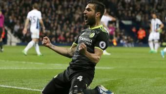 Chelseas Cesc Fabregas jubelt über den 1:0-Siegtreffer seines Teamkollegen Michy Batshuayi